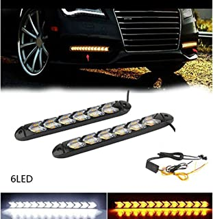 AKDSteel 2PC LED Car Flexible DRL Switchback LED Knight Rider Strip Light Headlight Arrow FlA-s-her DRL Turn Signal Waterp...