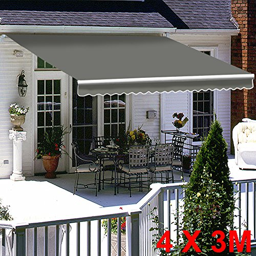 Greenbay Grey DIY Manual Patio Awning, Retractable Gazebo Outdoor Canopy, Garden Sun Shade - 4m x 3m