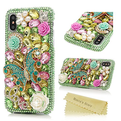 iPhone X Case, iPhone Xs Case, Mavis's Diary Full Edge Protective Plastic Case, 3D Handmade Crystal Clear Bling Green Diamonds Shiny Colorful Rhinestone Floral Butterfly Pearl Hard PC Cover
