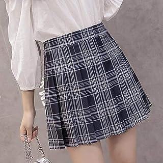 HEHEAB Falda Dividida Split Falda Estilo Coreano Cremallera Mujer Falda De Cintura Alta Escuela Chica Mini Falda Falda Plisada Plaid