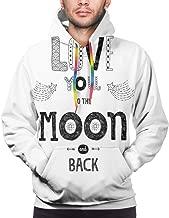 Men's Hoodies Sweatershirt,Boho Hipster Valentines Sketch Art Style Phrase Stars Arrows Comets Vintage Design,