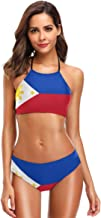 Nugier Philippines Flag 2 PC Swimsuits Woman Bikini High Neck wimwear XS-2XL