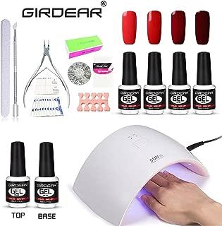 Girdear Soak Off Gel Polish Kit, 36W SUN9C Plus LED Lamp, 4 Color Gel Base Top Coat Manicure Kit Soak Off Cleanser Files Removers Buffer Nipper Push Wipes Stipes Roll Starter Gift Set C016