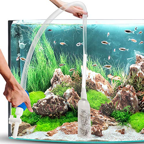 SunGrow Aquarium Maintenance Pump Kit for Horizontal Fish Tanks, Perfect for Changing Water in Tank, Easy-to-Use Equipment with Water Flow Regulator and Long Nozzle