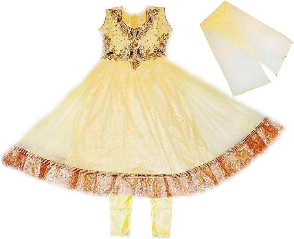 Zaffron Girls' Designer Salwar Kameez Indian Party Dress Clothing Deluxe Yellow