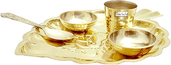Brass Puja Thali Set, Religious Spiritual Item, Home Temple, 7 Inch