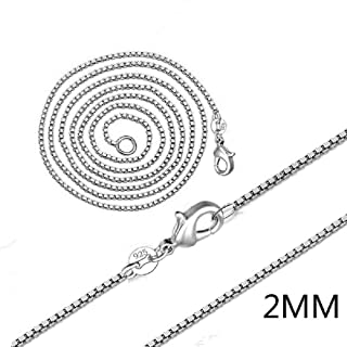 DUANMEINAD Fashion Jewelry 925 Sterling Silver Italian 2mm Box Chain Crafted Necklace Jewelry for Woman Men Necklace 22 inch Silver 12