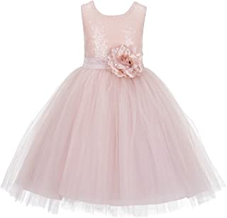 Wedding Formal Sequins Bodice Ruffle Tulle Flower Girl Dress Easter Toddler Birthday Pageant Communion Gown J122F