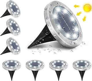 AMBOTHER Lumière Solaire Extérieur Jardin Au Sol Extérieur 8 LED 6000K Blanc Froid Etanche IP65 Spot Solaire Extérieur Che...