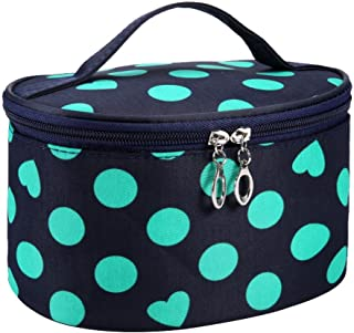 DZT1968 Handle Round Dot Large Cosmetic Bag Travel Makeup Organizer Case Holder With Mirror (Green)