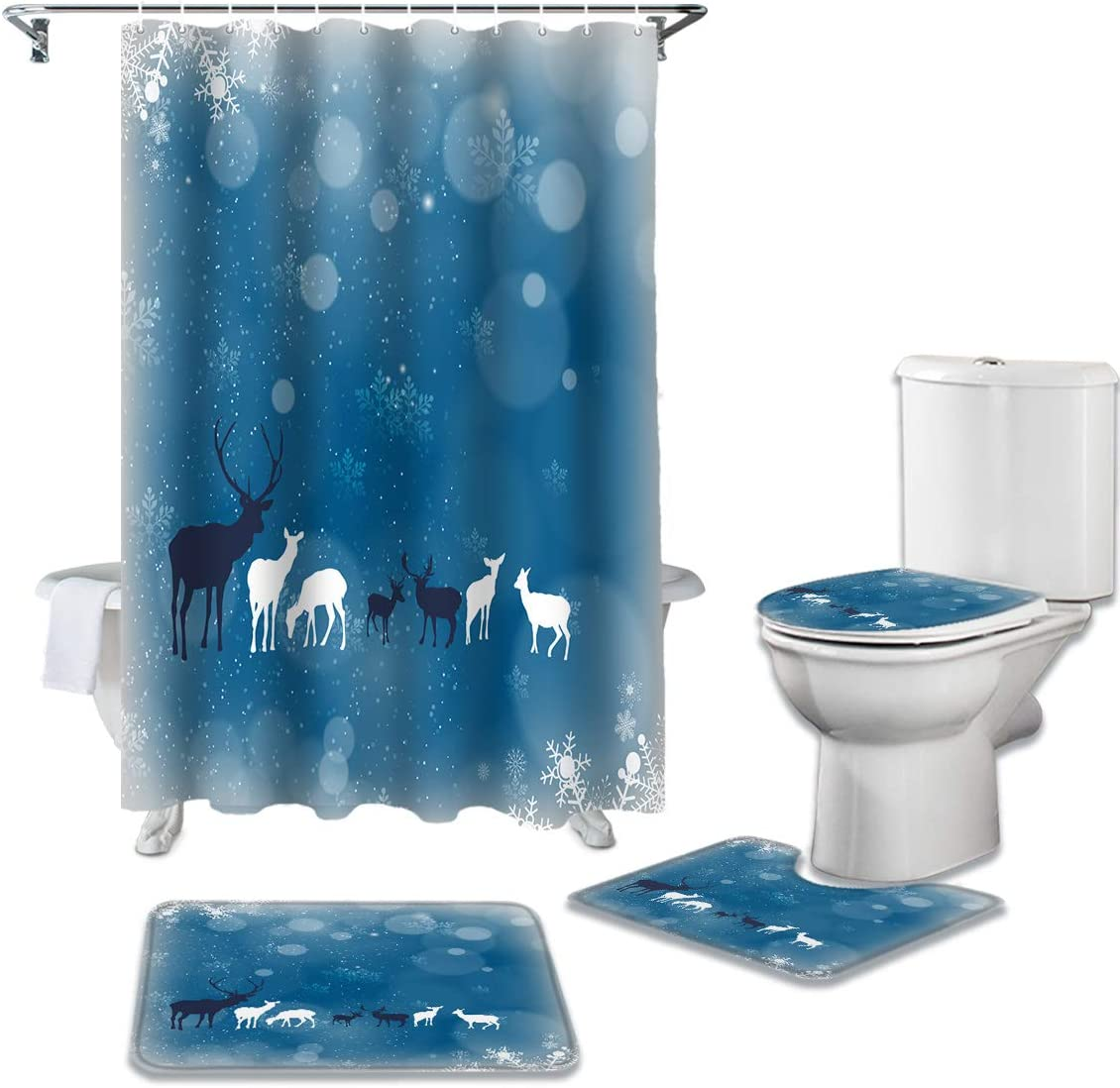 CHARMHOME 4 Piece free shipping Shower Curtain Non-Slip Sets Rug with New color Toilet