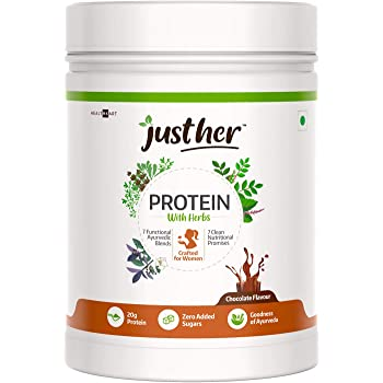 JustHer Protein with Herbs, Whey Protein Powder for Women, 7 Ayurvedic Blends , 7 Clean Nutrition Promises, Zero Added Sugar, Gluten-free (Chocolate Flavor, 15 Servings) - 500 g