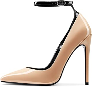 CASTAMERE Escarpins Femme Mode Bride Cheville Bout Pointu Aiguille Talon 12CM Heel Shoes