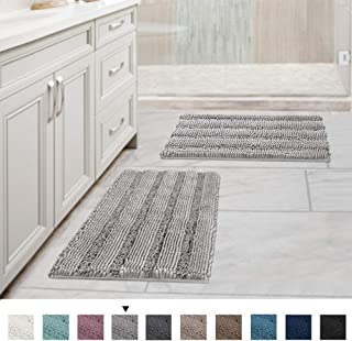 Extra Thick Striped Bath Rugs for Bathroom - (Set of 2) Anti-Slip Bath Mats Soft Plush Chenille Yarn Shaggy Mat Living Room Bedroom Mat Floor Water Absorbent (Dove, 17 x 24 Plus 17 x 24 - Inches)