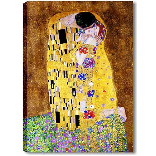 quadri moderni soggiorno klimt Quadri L&C ITALIA Il Bacio di Klimt Quadro Moderno Soggiorno Salotto e Capezzale Camera da Letto 70 x 100 Stampa su Tela Canvas da Parete Grande