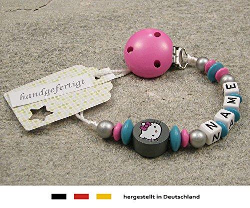kleinerStorch Baby SCHNULLERKETTE mit Namen - Schnullerhalter mit Wunschnamen - Mädchen Motiv Hello Kitty in grau, türkis