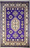 ETNICO - Alfombra con doble nudo Ziegler Chobi hecha con tintes vegetales, 119 cm x 182 cm, color morado