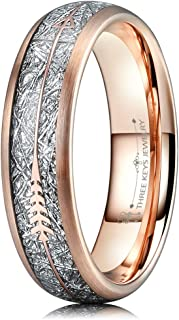 Three Keys Jewelry Mens Arrow Tungsten Meteorite Rings Unisex 6mm 8mm Viking Bands for Women Rose Gold Silver