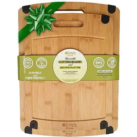 Olive's Kitchen Organic Bamboo Cutting Board Set (2 Pack) - Reversible Bamboo Cheese Board – Medium & X-Large Bamboo Cutting Boards for Kitchen – Non-Slip Cutting Board Bamboo Charcuterie Board