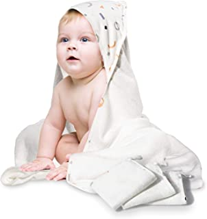 Momcozy Hooded Baby Towel, Softest Hooded Bath Towel Set 4 Pack for Baby, Toddler, Infant, Newborn - Ultra Absorbent and Hypoallergenic Baby Beach Stuff (1 Bath Towel+3 White Washcloths)