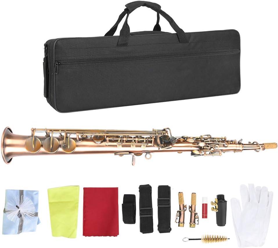 TAKE FANS Si Bemol, saxofón Profesional Antiguo Rojo Cobre si Bemol Soprano Recto saxofón Saxo con Bolsa de Transporte