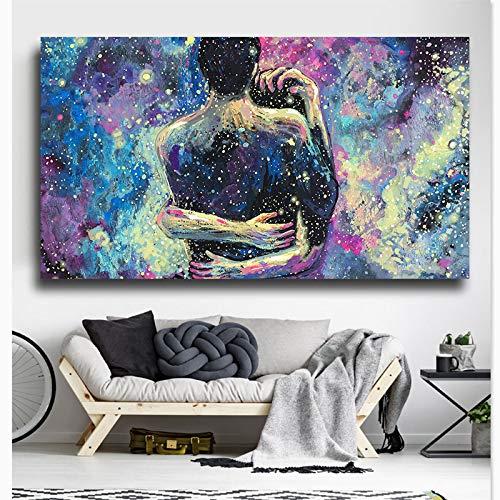 YuanMinglu Abstrakte Liebhaber Sternenhimmel Liebhaber umarmen das Wohnzimmer Wandkunst Bild Moderne Leinwand Dekoration rahmenlose Malerei 40x65cm