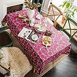 Patrón Floral Rojo Poliéster Rectangular Mantel Antiincrustante Hogar Sala De Estar Decoración Hotel Cocina Mesa De Centro Cuadrada Mantel Mesa De Comedor, Jardín, Fiesta De Navidad 140x180cm