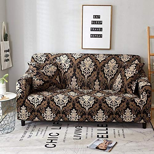 WAXCC Living Room Stretch Printed Sofa Cover Converts Into A Compact All-Inclusive Edge Pattern 1/2/3/4 Seat,Magnolia,Three,Seater