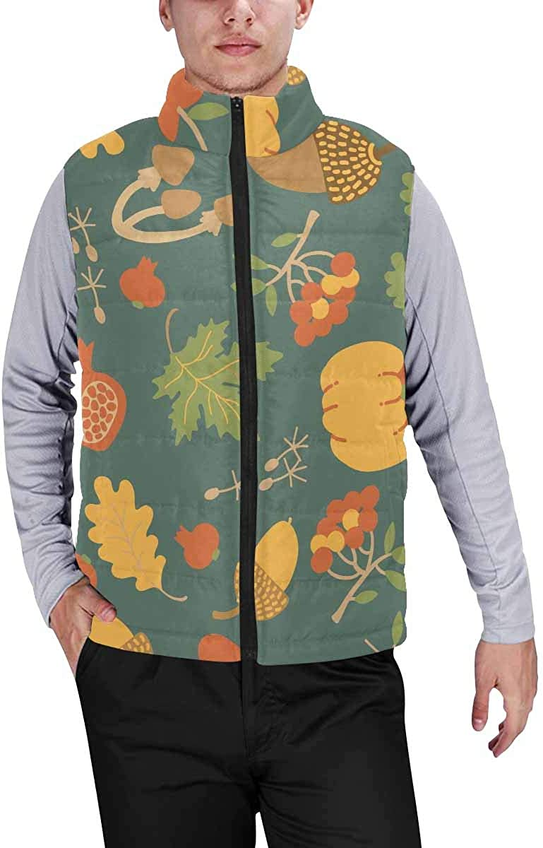 InterestPrint Men's Full-Zip Padded Vest Jacket for Outdoor Activities Map of the World with Trees