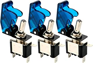 ARTGEAR 3pcs Rocker Toggle Switch LED Illuminated Blue, with Waterproof Boot Cap Cover, 20A 12VDC, 3 Pin SPST ON/OFF Switch with Metal Bat, Used for Car Auto Truck Boat