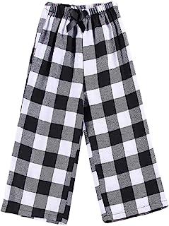 Girl's Buffalo Plaid Pants Kids Soft Casual Bottoms