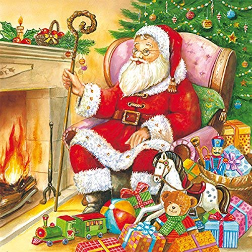 40 pcs Christmas Paper Luncheon Napkins Santa Claus with Presents by a Chimney