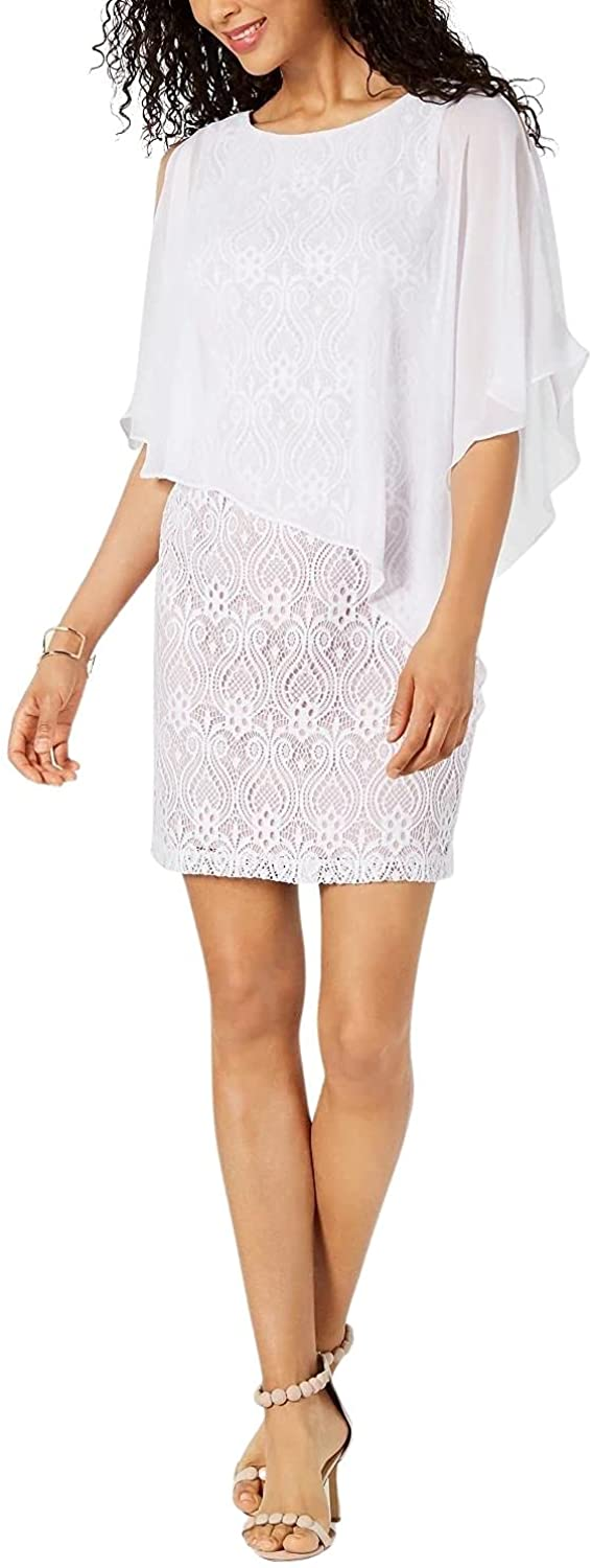 Connected Apparel Womens Lace Mini Capelet Dress
