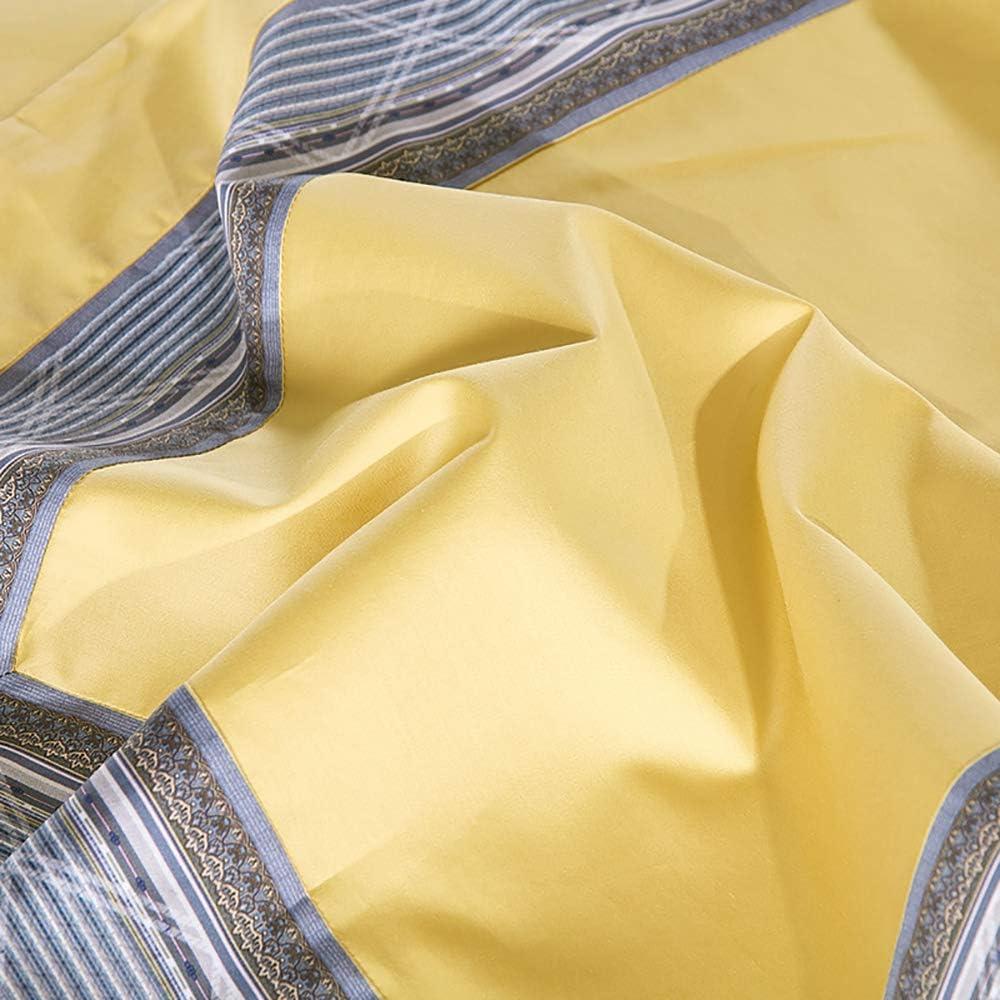 GenericBrands Ensembles De Literie King Double Taille Quatre Pièces Coton À Longues Agrafes Coton Couture Couleur Unie Suite Style Européen Literie De Couleur Unie Yellow
