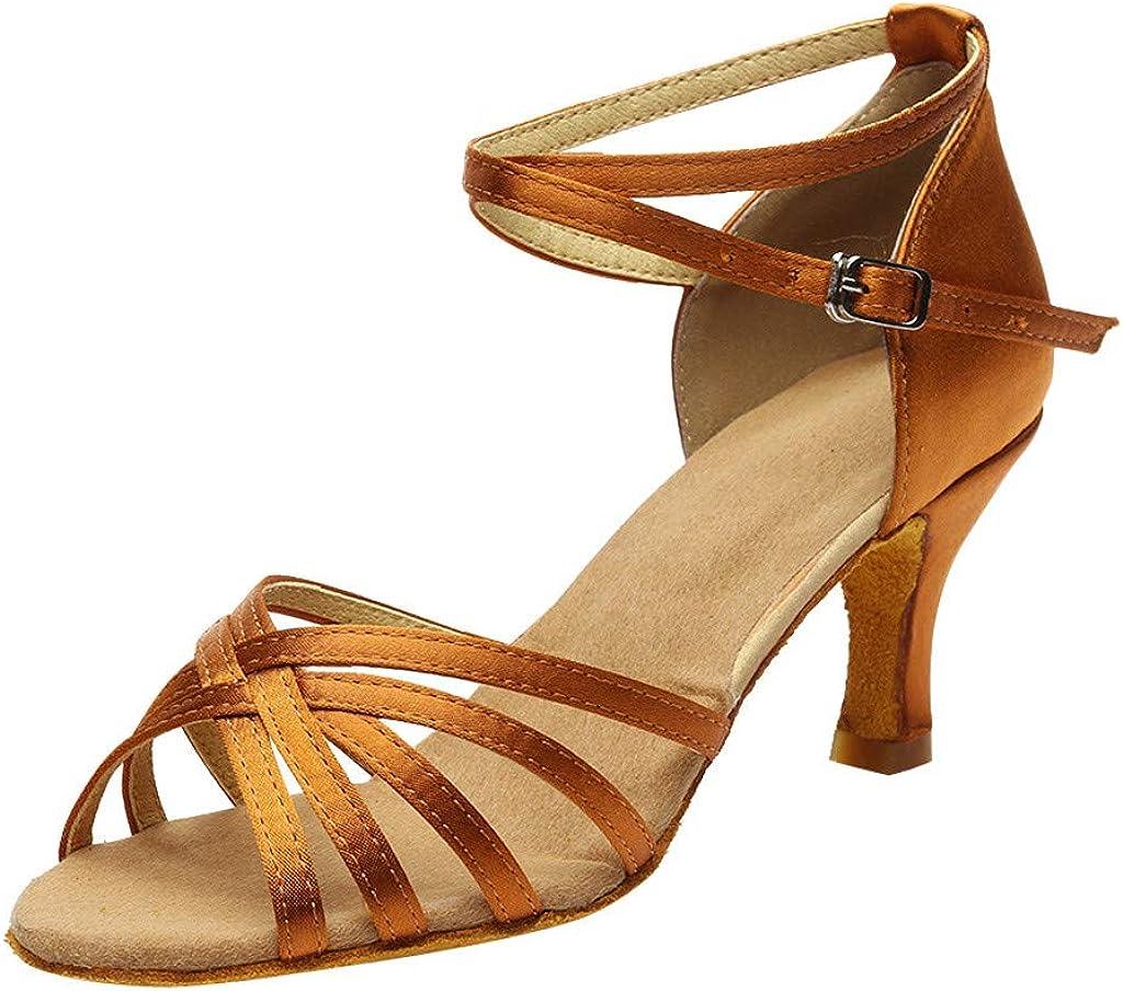 Women's Fashion Dance Shoes Rumba Waltz Prom Ballroom Latin Salsa Dance Shoes Cross Buckle Strap Sandals