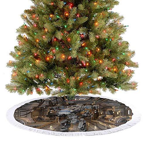 Adorise Tapis de sapin de Noël en forme de robot avec armes dans un navire de combat technologique, image de guerre futuriste, blanc, décoration de Noël pour Noël, décoration festive – 77 cm