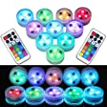10Pcs Mini Submersible LED Lights with Remote Control Tea Lights Small Underwater Lights Battery Powered Flameless LED Accent Light for Party Event Vase Fishtank Hot Tub