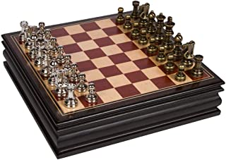 Bancroft Chess Inlaid Wood Board Game with Metal Pieces, 2.5 Inch King, and Extra Queens (Medium 12 x 12 Inch Set)