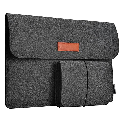dodocool 13.3 Inch Laptop Felt Sleeve Carrying Case with Mouse Pouch for Apple 13' MacBook Air / 13' MacBook Pro / 13' MacBook Pro Retina and Most 13-13.3 Inch Laptop Dark Gray