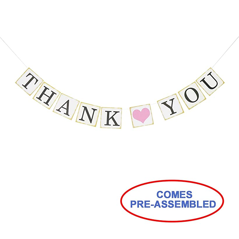 Thank You Wedding Bunting Banner Photo Booth Props Garland Anniversary Bridal Party Decoration (Gold)