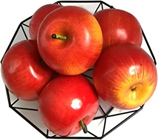 J-Rijzen 6pcs Artificial Apples Fake Apples Artificial Fruits Vivid Apples for Home Fruit Shop Supermarket Desk Office Restaurant Decorations Or Props (Red)