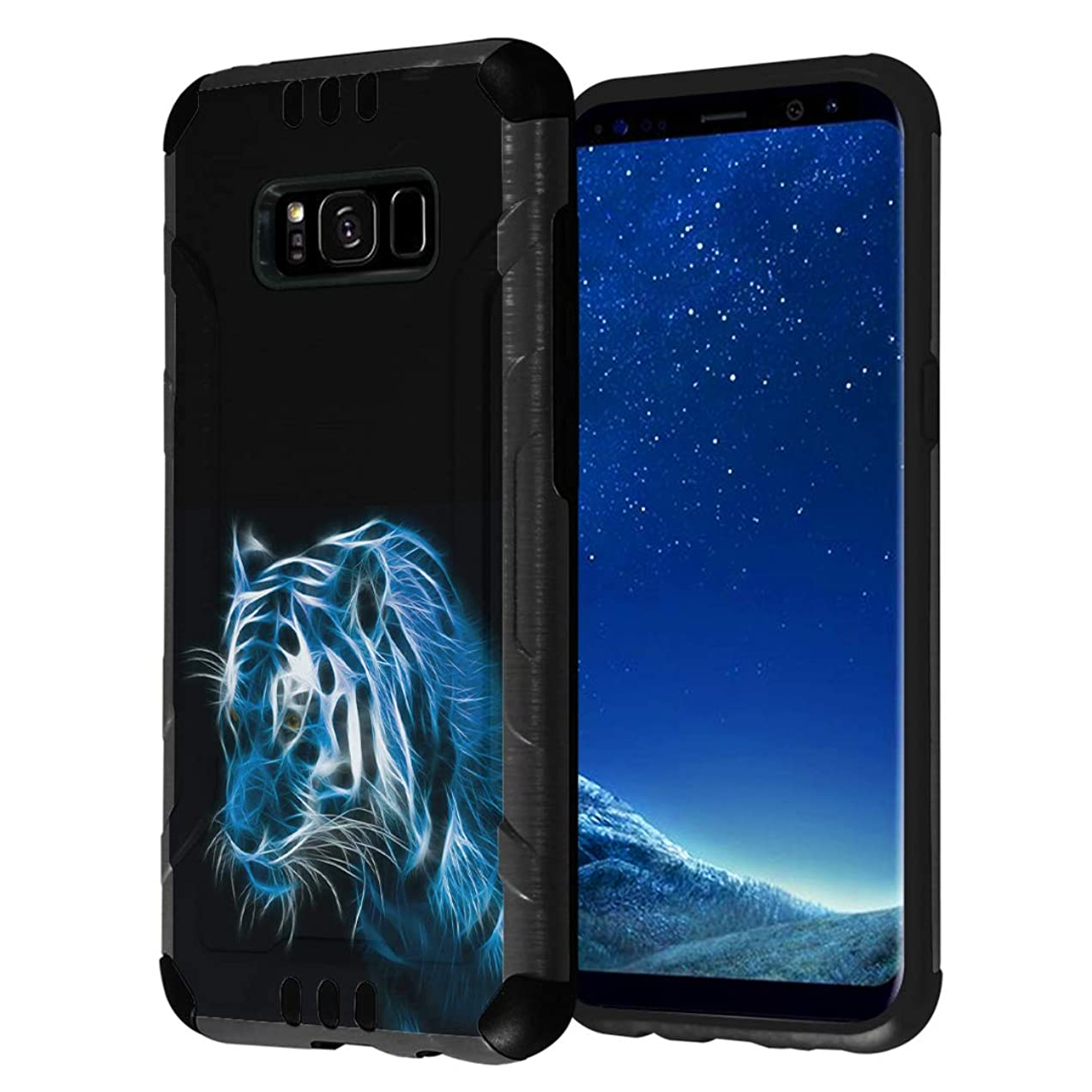 Capsule Case Compatible with Galaxy S8 [Hybrid Fusion Dual Layer Slick Armor Cushion Case Black] for Samsung Galaxy S8 SM-G950 SPHG950 - (Blue Tiger)