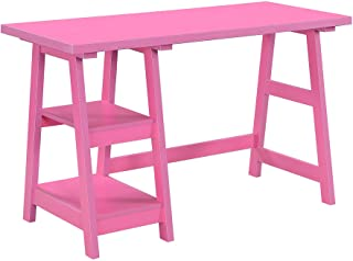 Convenience Concepts Designs2Go Trestle Desk with Shelves, Pink