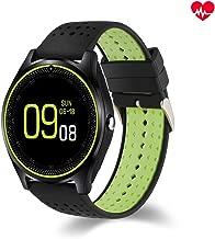 BINDEN Smartwatch V9 Resistente al Agua IP54 con Medidor de Ritmo Cardiaco, Ranura para SIM y Micro SD con Función de Teléfono - Negro/Verde