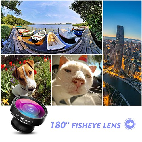 VicTsing Phone Camera Lens, 180° Fisheye Lens+0.65X Wide Angle Lens & 10X Macro Lens (Screwed Together), Clip on Cell Phone Lens Kits Compatible with iPhone 8/7/6s, Most Android and Smart Phone