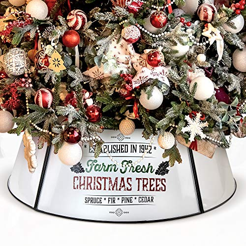 KIBAGA Farmhouse Christmas Tree Collar - Authentic Easy Set Up 30' Tree Ring - Beautiful White Christmas Tree Skirt Decorates Your Home for The Holidays