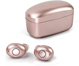 Rose Gold True Wireless Earbuds Bluetooth 5.0, HD Stereo Sound Earphones Water-Resistant IPX5 in-Ear Headphones with 700mAh Charging Case 30 Hours Long Playtime, Built-in Mic for Calls
