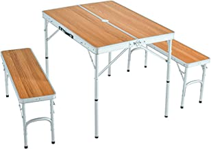 Tansu no Gen 45000000 04AM Outdoor Table, Leisure Table, Width 35.4 inches (90 cm), Bench 2 Leg Set, 2 Height Adjustment, Lightweight, Natural