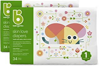 Babyganics Diapers, Size 1, 34 Ct, Ultra Absorbent Diapers, 2 Packs