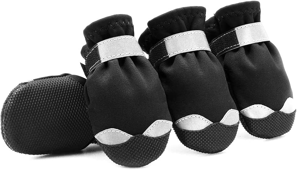 URBEST Dog Shoes 4#, Black Rain Boots for Outdoor Indoor Shoes Non Slip Black Rubber Sole Reflective Strap Breathable Paw Protectors Waterproof Rugged Pet Dog Boots